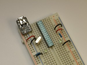 Photo of the assembled Breadboard Arduino Kit. You get to do the assembling.
